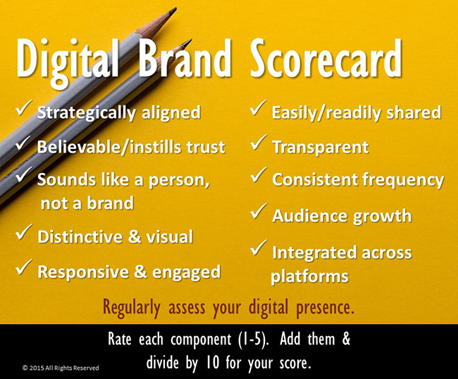 Digital brand scorecard for building your personal brand